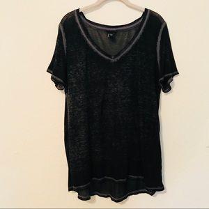 TORRID Black Grey Burnout V-Neck T-Shirt Top